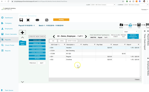 Detailed check view in Evolution Payroll