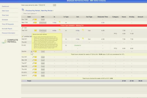 Employee Self-Service Time Card Details in TimeWorks Plus