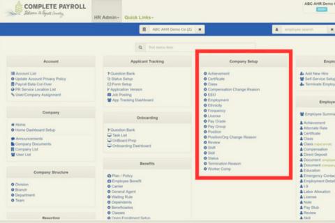 The employee maintenance menu in Advanced HR