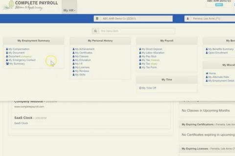 The employee self service portal in Advanced HR