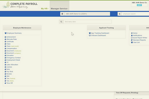 The manager service portal in Advanced HR