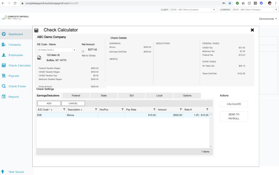 Additional employee features and shortcuts in Evolution Payroll